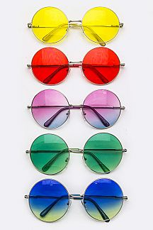 Color Lens Retro Round Sunglasses