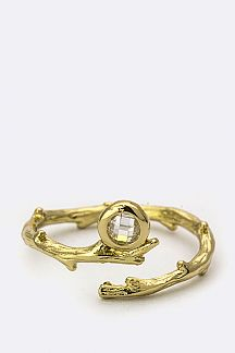 Crystal & Metal Branch Ring