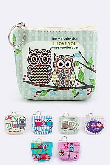 Comic Love Owl Mini Pouches Set