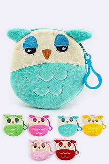 Plushy Owl Coin Purses Set