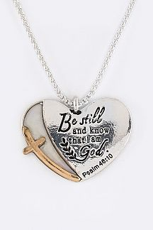 Psalm 46:10 Engraved Heart Pendant Necklace Set