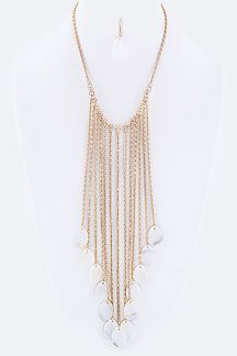 Fringe Shell Disks Bib Necklace Set