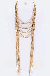 Crystal Hinge & Layer Chians Necklace Set