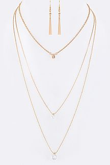 CZ Charms Layer Necklace Set