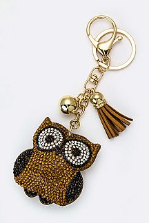 Crystal Owl Key Charm