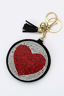Crystal Heart Compact Mirror Key Charm