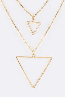 Triangle Charms Layer Necklace Set