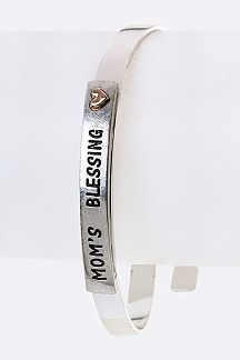 MOM'S BLESSING Engraved Metal Bangle