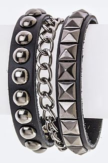 Chian & Mix Studs Layer Cuff