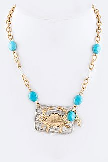 2 Tone Metal Crab Plate Precious Necklace