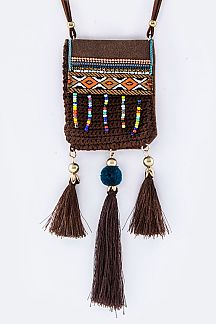 Mix Beads & Tassels Pouch Necklace