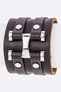 Metal Hinged Leather Cuff
