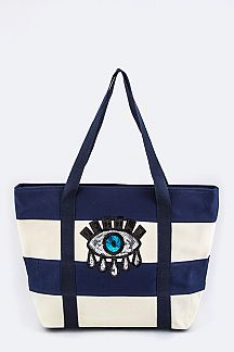 Tearing Eye Stripe Canvas Tote & Pouch