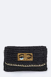 Sequins Eyes Patched Paper Woven Clutch