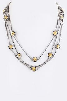 Metal Disks Layer Necklace
