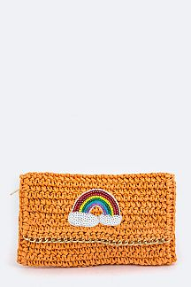 Rainbow Patched Paper Woven Clutch