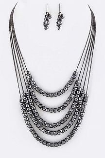 Metal Beads Layer Necklace Set