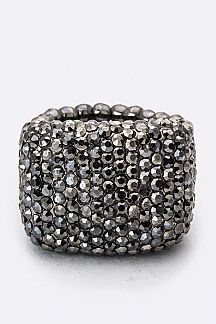 Pave Crystals Stretch Ring