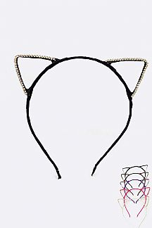 Crystal Cat Ears Headbands Set