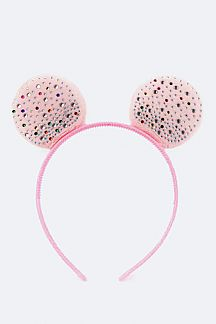 Kid's Crystal & Plushy Mouse Ears Kid's Headbands Set