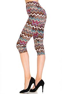 Mix Chevron Capri Leggings