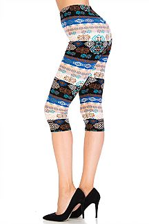Tribal Stripe Capri Leggings