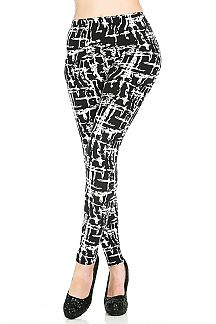 Abstract Print Brushed Leggings