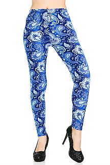 Paisley Printed Brushed Leggings