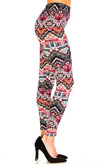 Mixed Print Brushed Leggings