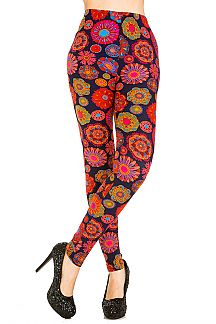 Mix Floral Brushed Leggings