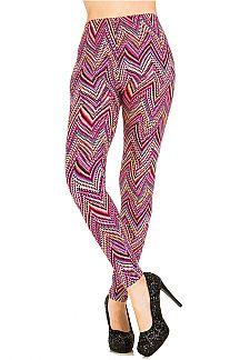 Chevron Print Brushed Leggings