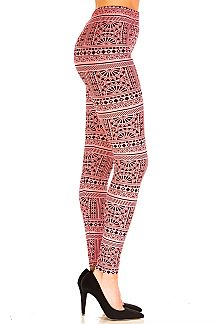 Aztec Print Brushed Leggings