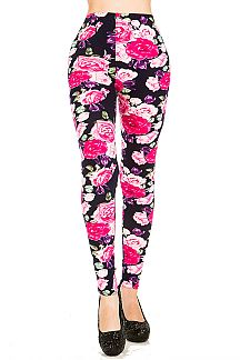 Rose Print Brushed Leggings