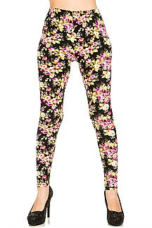 Floral Print Brushed Leggings