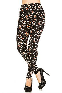 Flower Print Brushed Leggings