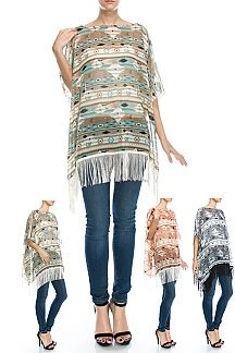 Tribal Print Lace Poncho