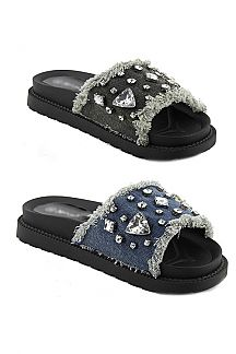 Crystal Embellished Denim Raw Edge Sliders