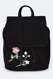 Embroidered Velour Fashion Backpack