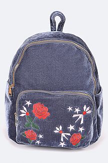Floral Embroidered Vintage Velour Fashion Backpack