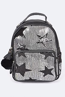 PomPom Sequins Stars Mini Backpack