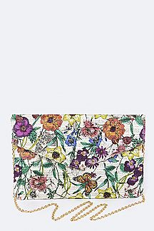 Flower Print Envelope Clutch