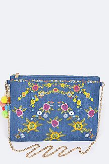 Flower Embroidery Denim Clutch