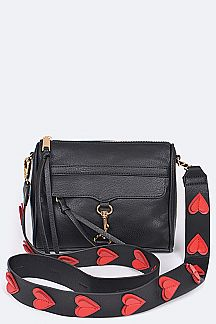 Hearts Strap Clutch Bag