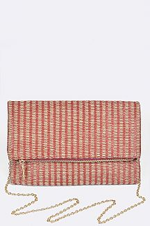 Woven Straw Folding Clutch Bag