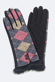 Argyle Pattern Fur Trim Winter Gloves