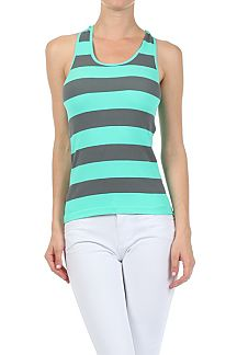 STRIPE RACERBACK WITH LACE BACK