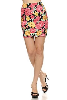 Rose Buds Printed Fashion Knit Mini Skirt