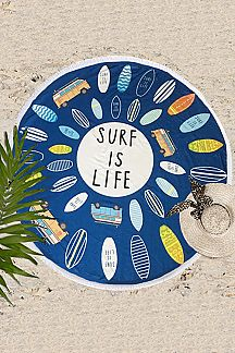 SURF IS LIFE Terry Fringe Round Beach Towel