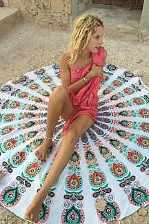 Peacock Printed Convertible Beach Throw