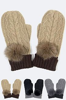 Mix Knit Fur Pom Mitten